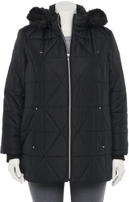 Details Plus Size Faux-Fur Hood Quilted Jacket