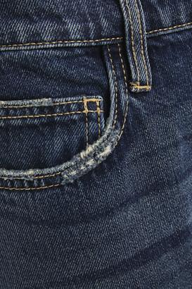 Current/Elliott The Fling Cropped Distressed Mid-rise Slim-leg Jeans