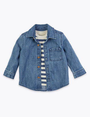 Marks and Spencer 2 Piece Cotton Denim Shirt