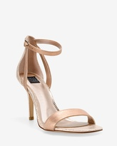 White House Black Market Rose Gold Strappy Mid-Heel Sandals