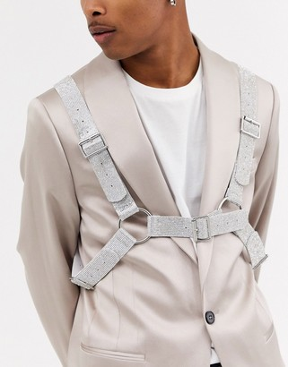 ASOS DESIGN body harness in faux leather with silver diamonte design