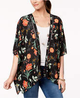 Style&Co. Style & Co Printed Crochet-Trim Kimono, Created for Macy's
