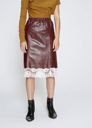 Calvin Klein Leather Skirt with Lace