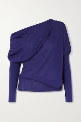 Tom Ford One-shoulder Cashmere And Silk-blend Sweater - Blue