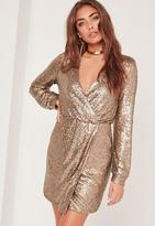 Missguided Sleeve Sequin Wrap Dress Gold