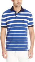 Nautica Men's Short Sleeve Pique Gradient Stripe Polo