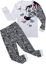 Family Feeling Zebra Little Girls 2 Piece 100% Cotton Pajamas Sets Kids Pjs Size White