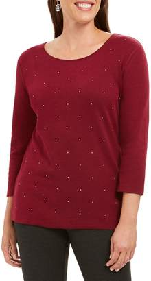 Karen Scott Petite Studded Cotton-Blend Top