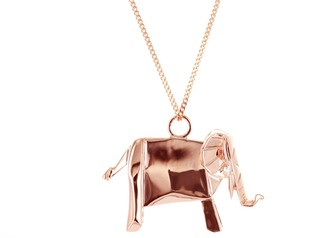 Origami Jewellery Elephant Necklace Pink Gold Plated