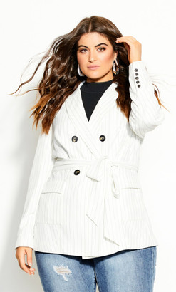 City Chic Suit N Tie Stripe Jacket - ivory