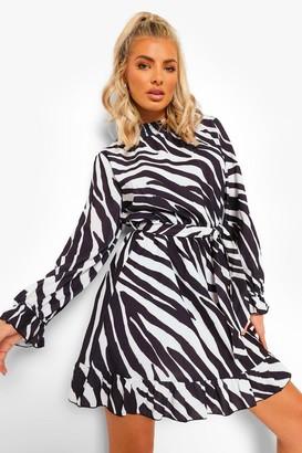 boohoo Zebra Print Shirred Neck Tie Skater Dress