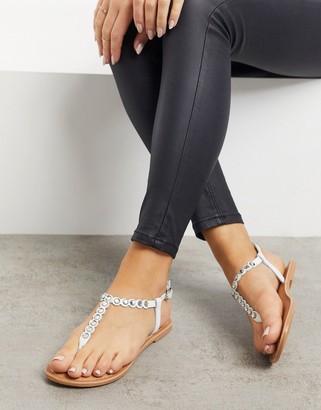 New Look beaded diamante strap sandals in cream