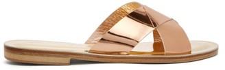 Álvaro González Antonia Metallic-leather Slides - Gold