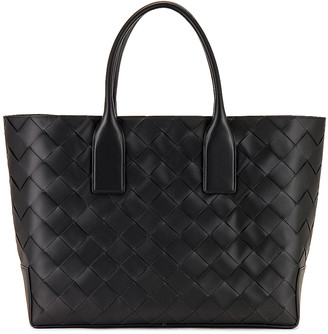 Bottega Veneta Intreccio Tote Bag in Black & Black Silver | FWRD