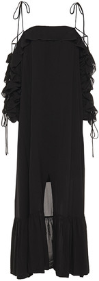 Rodebjer Cold-shoulder Lace-up Woven Maxi Dress