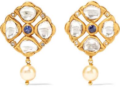 Amrapali 18-karat Gold, Tanzanite, Diamond And Pearl Earrings