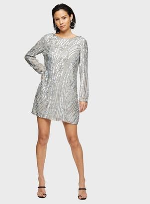Miss Selfridge Silver Long Sleeve Sequin Mini Dress