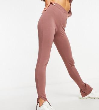 Missy Empire exclusive split hem legging in mocha