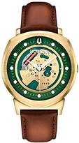 Bulova Accutron II Men's Quartz Watch with Green Dial Analogue Display and Brown Leather Strap