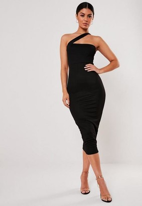 Missguided Black Asymmetric Strap Bodycon Midi Dress