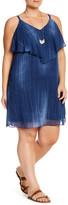 London Times Denim Chiffon Dress (Plus Size)