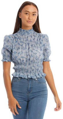 Miss Shop Blue Ditsy High Neck Shirred Top