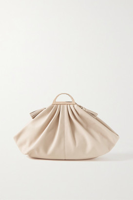 THE VOLON Gabi Large Leather Clutch - Cream