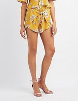 Charlotte Russe Floral Tied Wrap Shorts