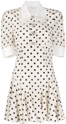 Alessandra Rich Silk Polka-Dot Mini Dress