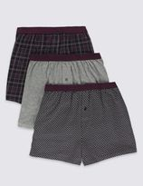 Marks and Spencer 3 Pack Pure Cotton Cool & FreshTM Assorted Trunks with StayNEWTM