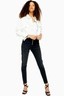 Topshop Womens Petite Washed Black Button Fly Jamie Jeans - Washed Black