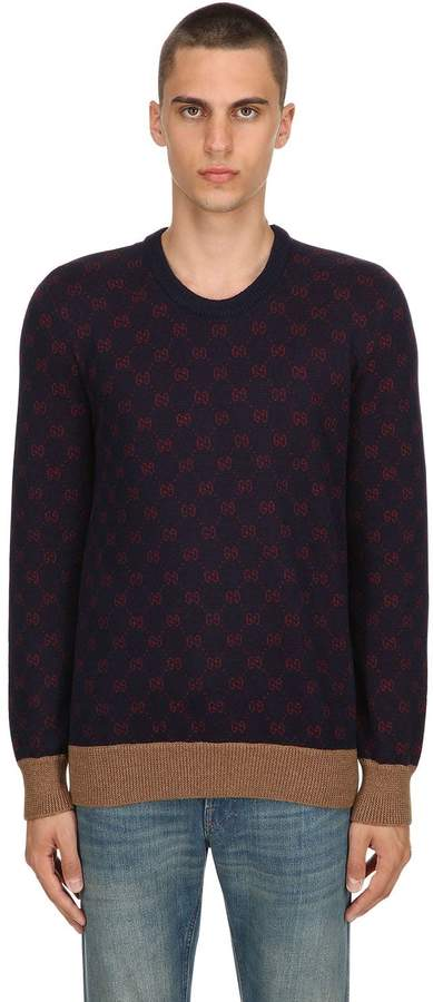 Gucci Gg Supreme Wool Blend Knit Sweater