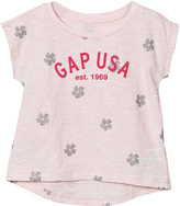 Gap Light Pink Logo Floral Hi-Lo Tee