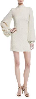 Alexis Alyna Mock-Neck Beaded Silk Dress