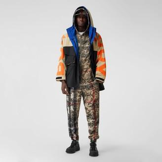 Burberry ogo Print Coour Bock Technica Twi Jacket
