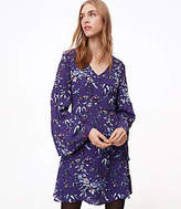 LOFT Frosted Branch Bell Sleeve Dress
