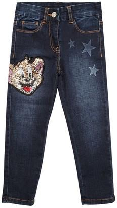 MonnaLisa Stretch Denim Jeans W/ Jerry Patch