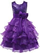 Shiny Toddler Little Girls Sequins Ruffled Flower Girl Birthday Pageant Dress 3-4T