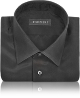 Forzieri Dramatic Black Pure Silk Dress Shirt