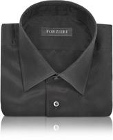 Forzieri Dramatic Black Pure Silk Dress Shirt