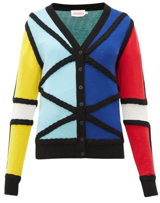 Charles Jeffrey Loverboy Colour-blocked Merino Wool Cardigan - Womens - Multi