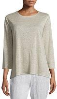 Caroline Rose 3/4-Sleeve Linen Knit Top, Natural