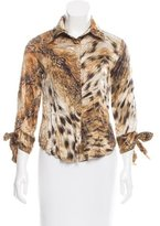 Just Cavalli Animal Print Button-Up Top