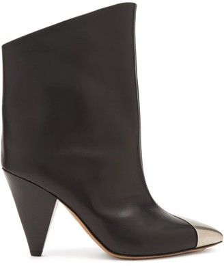 Isabel Marant Lapee Metallic-toecap Leather Ankle Boots - Black