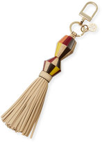 Tory Burch Painted-Wood Tassel Key Fob/Bag Charm, Soft Camel