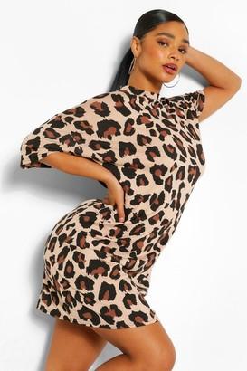 boohoo Plus Leopard High Neck T-Shirt Dress