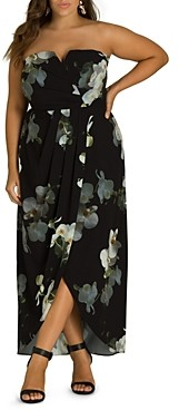 City Chic Plus Orchid Dreams Strapless Maxi Dress