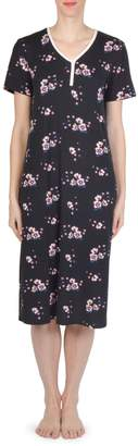 Claudel Short-Sleeve Floral-Print Nightgown