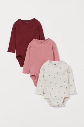 H&M 3-pack Cotton Bodysuits - Red