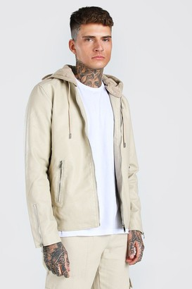 boohoo Mens Beige Leather Look Biker With Jersey Hood, Beige